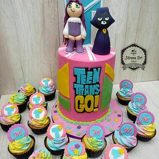 Double barrel Teen Titans Cake