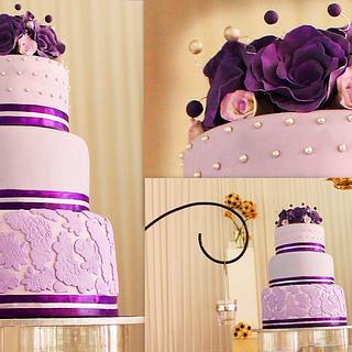 PURPLE HASTE WEDDING CAKE