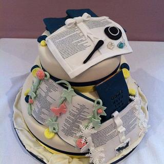 Books Buttons and Bows Wedding cake