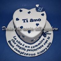 Blue heart cake