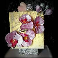 Cake ice cream, chocolate decor, for orchid day