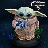 Baby yoda cake by Sticky Sponge Cake Studio