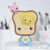 Cute Toast Cake Topper