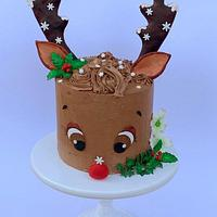 Rudolph the Red-Nosed Reindeer Cake