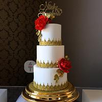 Indian Wedding Cake White and gold