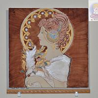La Plume Painting - Art Nouveau Meets the Cake Artists - A Cake Collective collaboration by Cake Angel by Marisa Kemp