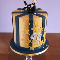 Golden 40th Birthday cake