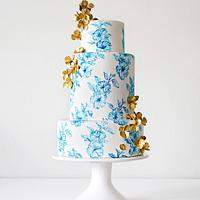 Hand Painted Blue China Inspired Cake