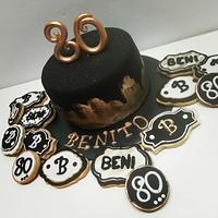 Torta y cookies 80 años!!!