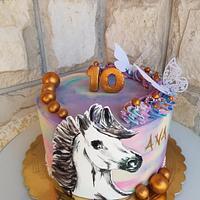 Handpaimted horse cake