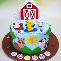 Farm Animals theme cake for girl's 1st birthday