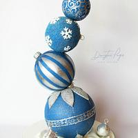 Christmas tree decorations cake