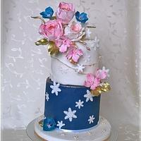 Birthday flowers cake