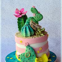 Cactus engagement cake