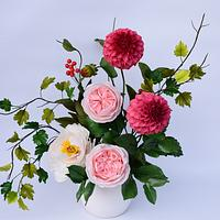 "My flowers for the ""Sugarflowers and Cakes in Bloom World Cancer Day"" collaboration by Benny's cakes"