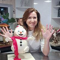 Flying snowman cake by Victoria Zagorodnya