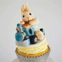 Bunny on a Train cupcake