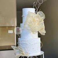 Blue Wedding Cake with translucent flower.
