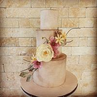 Weeding cake with wafer flowers