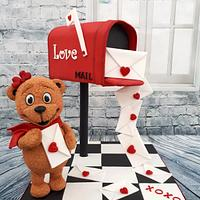 Love letters mailbox cake.