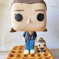 Eleven from Stranger Things in the style of a POP doll