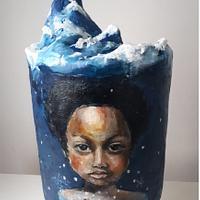 Elsa Hand painted cake