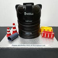 Carved water tank cake