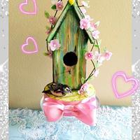 Bird House and the sparrow by Bethann Dubey