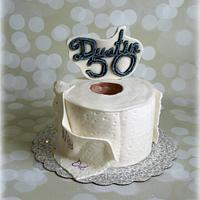 Dustin's toilet paper roll birthday cake.