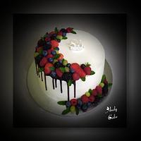 Birthday cake with fresh fruits