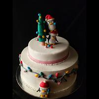 Christmas penguin cake by thefrostgoddess