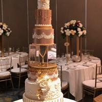 Ivory & Rose gold wedding cake