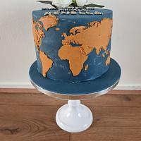 World map cake  by Cake Rotterdam