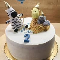 Birthday cake with zoo animals