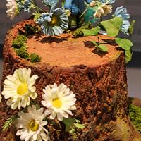 Tree stump cake.