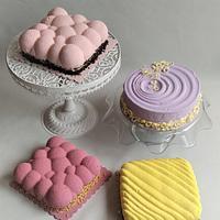 Velvet effect cakes