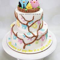Birds nest theme 2 tier fondant cake for baby shower