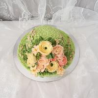 Hat Buttercream  flowers cake