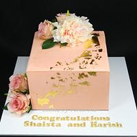 Peach and Gold Engagement Cake by Cakes by Vivienne
