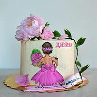 Painted cake with wafer paper peonies.