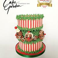 Christmas Gingerbreadmen fault line cake