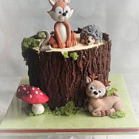 Animals on a stump