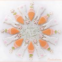 Flowers carrots and bunnies cookies