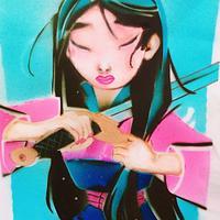 Mulan Airbrush Cake