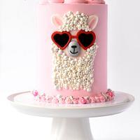 Llama Valentine's Day Cake