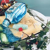 Gin Bottle illusion cake