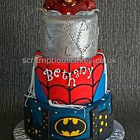 Batman, Spiderman & Iron Man Birthday Cake