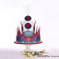 Red and Blue Ombre Cake by chefsam