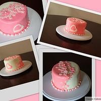 Pink and white double color cake