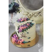 Buttercream rose cake  by Rana Eid
